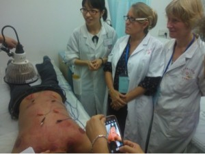 Most patients get electro-acupuncture as well as cupping which leaves red and purple bruising