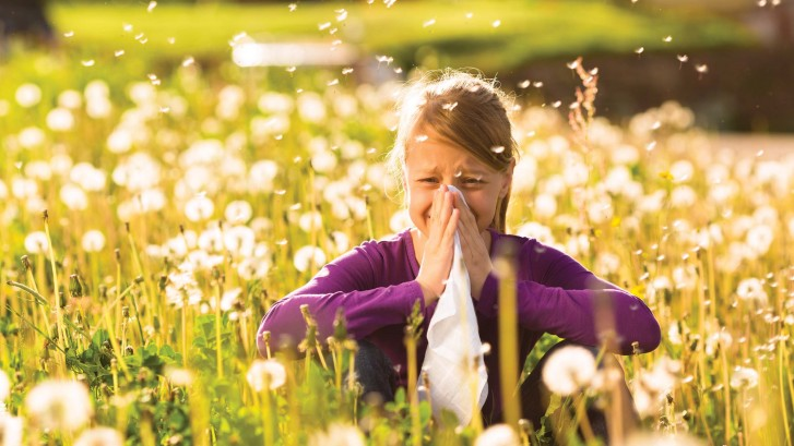 Girl sitting in meadow with dandelions and has hay fever or alle